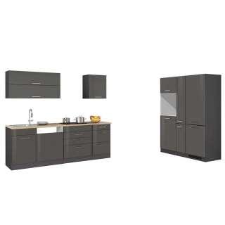 Küchenblock in Hochglanz Grau 390 cm breit (9-teilig)