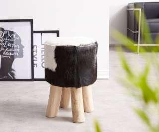 DELIFE Sitzhocker Koza 30x30 cm Ziegenfell Schwarz Weiss Teakholz, Sitzhocker / Sitzwürfel