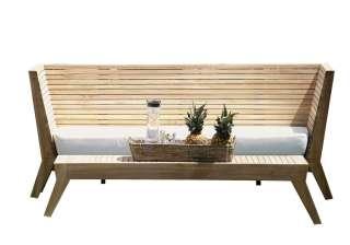 Jan Kurtz - Bank WILLIAM, Teak, 83/28 x 190/160 x 69/49 cm,incl.Sitzkissen,100 % Polyacryl weiß, RV,montiert - outdoor