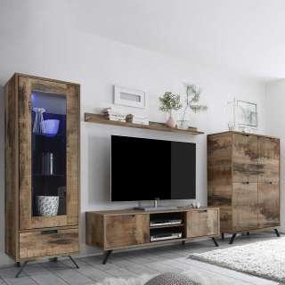 Wohnzimmer Anbauwand in Altholz Optik und Anthrazit Industry Style (4-teilig)