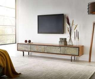 DELIFE Lowboard Juwelo 200 cm Akazie Natur mit Steinfurnier 4 Türen, Fernsehtische