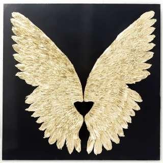 Wandschmuck Wings Gold schwarz 120x120cm