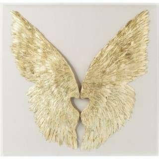Wandschmuck Wings Gold weiß 120x120cm