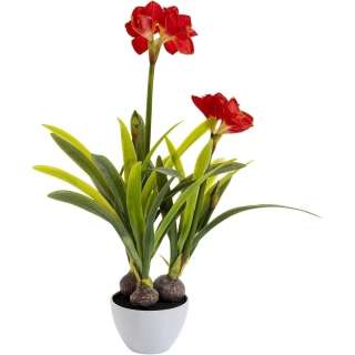 Deko Pflanze Amaryllis Rot 98cm