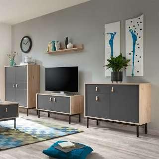 Design Anbauwand in Dunkelgrau und Hickory Optik modern (4-teilig)