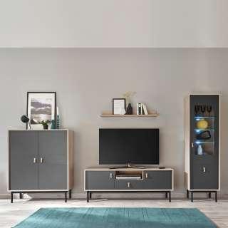 Moderne Wohnwand in Dunkelgrau und Hickory Optik Echtledergriffen (4-teilig)