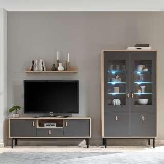 TV Wohnwand in Dunkelgrau und Hickory Optik modern (3-teilig)