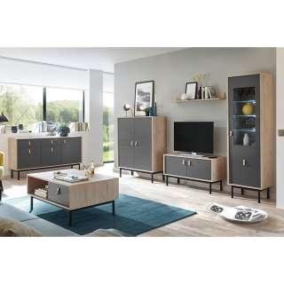 Design Wohnzimmermöbel Set in Dunkelgrau Hickory Optik (6-teilig)