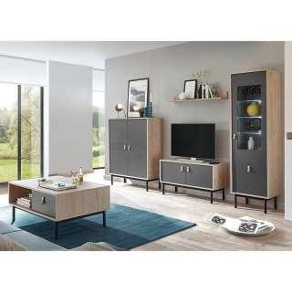 Möbel Set für Wohnzimmer Dunkelgrau und Hickory Optik (5-teilig)