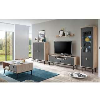 Komplett Wohnzimmerset in Dunkelgrau und Hickory Optik modern (5-teilig)