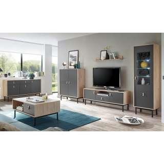 Wohnzimmer Kombination in Dunkelgrau und Hickory Optik modern (6-teilig)