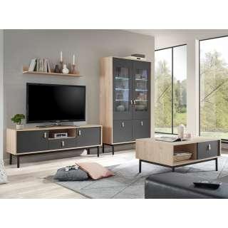Wohnzimmermöbel Set in Dunkelgrau und Hickory Optik modern (4-teilig)