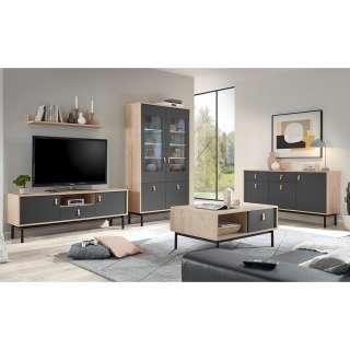 Wohnzimmer Möbel Set in Dunkelgrau und Hickory Optik komplett (5-teilig)