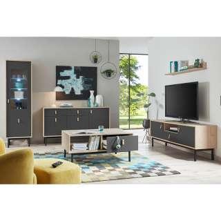 Wohnzimmereinrichtung in Dunkelgrau und Hickory Optik modern (5-teilig)