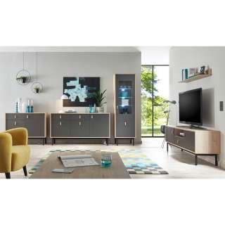 Wohnzimmer Set in Dunkelgrau und Hickory Optik modern (5-teilig)