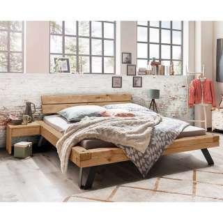 Balken Doppelbett aus Wildeiche Massivholz Nachtkommoden (3-teilig)