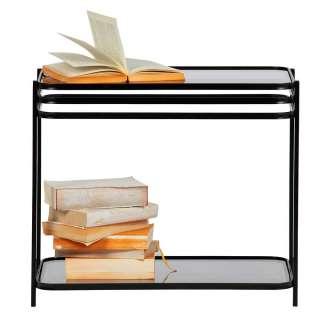 Couch Beistelltisch in Schwarz Klarglasplatte
