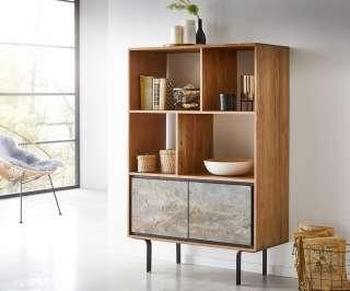 DELIFE Bücherregal Juwelo 88x135 cm Akazie Natur mit Steinfurnier, Standregale
