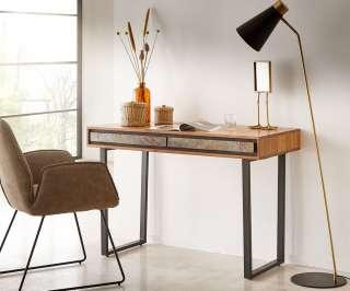DELIFE Schreibtisch Juwelo 115 cm Akazie Natur mit Steinfurnier, Beistelltische