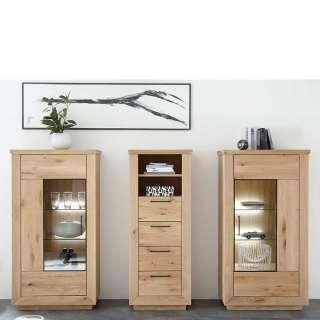 Massivholz Wohnzimmermöbel aus Wildeiche Bianco geölt modern (3-teilig)