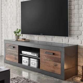 Fernsehlowboard in Dunkelgrau und Altholz Optik Loft Design