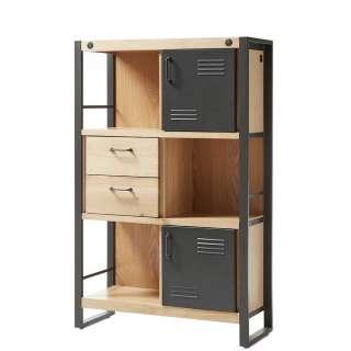 Hohe Kommode im Industriedesign Eiche Massivholz und Metall