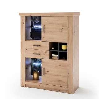 Wohnzimmer Highboard in Eiche Optik und Anthrazit Flaschenfach