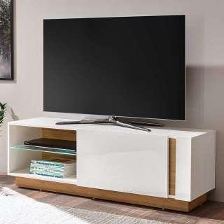 Fernsehkommode in Weiß und Wildeiche Optik Klappe