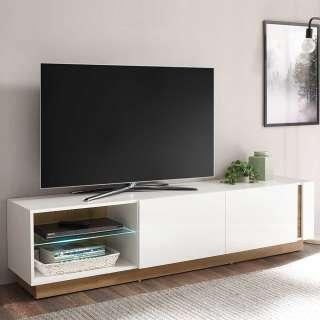 TV Lowboard in Weiß und Wildeiche Optik Klappe