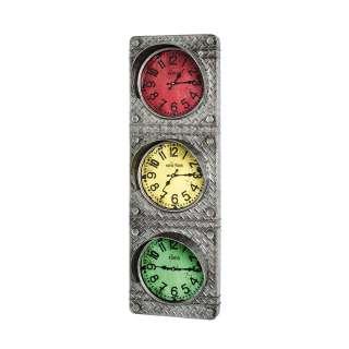 Wanduhr in Anthrazit, Rot, Gelb und Grün Industry Stil