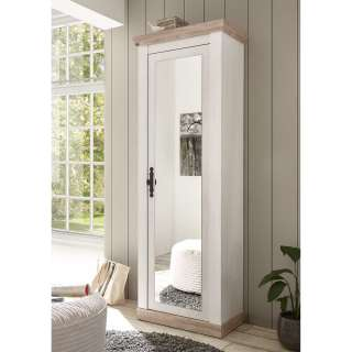 Dielenschrank mit Spiegeltür Weiß und Kieferfarben