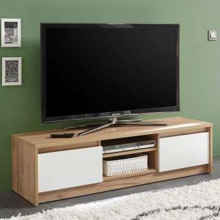 Fernseher Tisch in Weiß und Eiche Optik Klappe