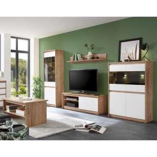 Wohnzimmermöbel in Weiß und Eiche Optik modern (5-teilig)
