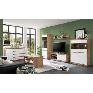 Wohnzimmereinrichtung in Weiß und Eiche Optik modern (6-teilig)