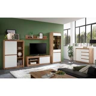 Wohnzimmermöbel Set in Weiß und Eiche Optik modern (5-teilig)