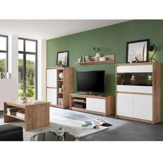 Wohnzimmer Set in Weiß und Eiche Optik modern (5-teilig)