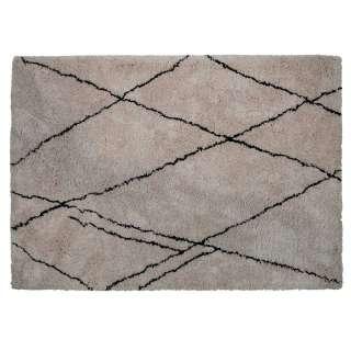 Hochflorteppich in Creme Weiß und Schwarz gemustert 240 cm breit