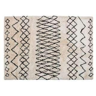 Teppich in Creme Weiß und Schwarz gemustert 230 cm breit