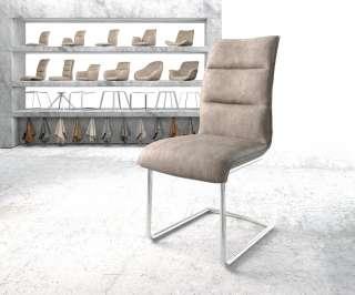 DELIFE Esszimmerstuhl Xantus-Flex Taupe Microvelours Freischwinger chrom rund, Esszimmerstühle