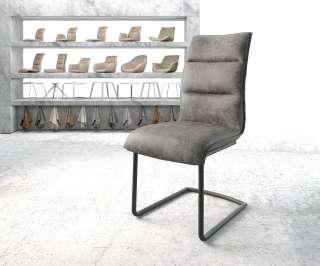 DELIFE Esszimmerstuhl Xantus-Flex Grau Microvelours Freischwinger rund schwarz, Esszimmerstühle