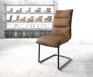 DELIFE Esszimmerstuhl Xantus-Flex Braun Microvelours Freischwinger rund schwarz, Esszimmerstühle