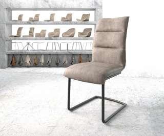 DELIFE Esszimmerstuhl Xantus-Flex Taupe Microvelours Freischwinger rund schwarz, Esszimmerstühle