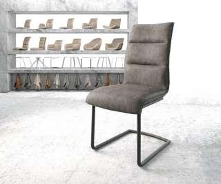 DELIFE Esszimmerstuhl Xantus-Flex Anthrazit Microvelours Freischwinger rund schwarz, Esszimmerstühle