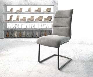DELIFE Esszimmerstuhl Xantus-Flex Grau Samt Freischwinger rund schwarz, Esszimmerstühle