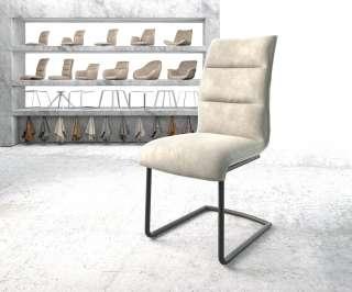 DELIFE Esszimmerstuhl Xantus-Flex Beige Samt Freischwinger rund schwarz, Esszimmerstühle