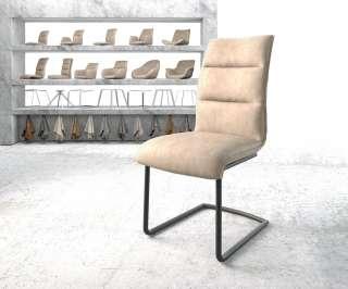 DELIFE Esszimmerstuhl Xantus-Flex Beige Microvelours Freischwinger rund schwarz, Esszimmerstühle