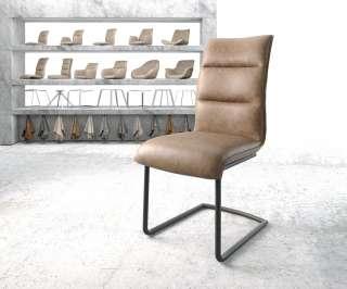 DELIFE Esszimmerstuhl Xantus-Flex Braun Kunstleder Freischwinger rund schwarz, Esszimmerstühle