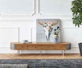 DELIFE Lowboard Danja 200 cm Akazie Natur mit Steinfurnier Anthrazit, Lowboards