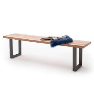 Küchenbank aus Zerreiche Massivholz Bügelgestell aus Metall