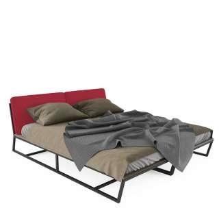 Design Bett in Rot und Schwarz Polsterkopfteil